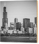 Chicago Skyline With Sears Tower In Black And White Wood Print by Paul Velgos