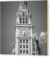 Chicago Wrigley Building Clock Black And White Picture Wood Print by Paul Velgos