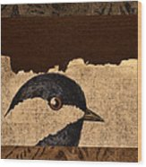 Chickadee Wood Print by Carol Leigh