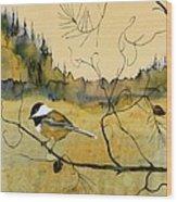 Chickadee In Dancing Pine Wood Print by Carolyn Doe