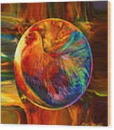 Chicken In The Round Wood Print by Robin Moline