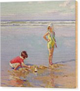 Children On The Beach Wood Print by Charles-Garabed Atamian