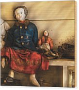 Children - Toys - Assorted Dolls Wood Print by Mike Savad