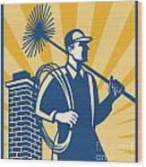 Chimney Sweeper Cleaner Worker Retro Wood Print by Aloysius Patrimonio
