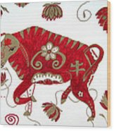 Chinese Year Of The Ox Wood Print by Barbara Giordano