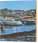 Christchurch Hengistbury Head Beach With Boats Wood Print by Martin Davey