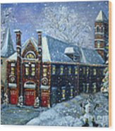 Christmas At The Fire House Wood Print by Rita Brown