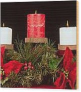 Christmas Candle Trio Wood Print by Kenneth Sponsler
