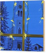 Christmas Decoration - Yellow Stars And Blue Church Wood Print by Matthias Hauser