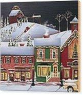 Christmas In Holly Ridge Wood Print by Catherine Holman