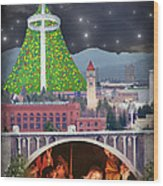 Christmas In Spokane Wood Print by Mark Armstrong
