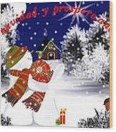 Christmas. Star. Spanish  Wood Print by Elizabeth millan Rodriguez