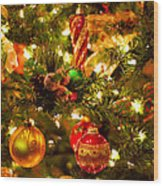 Christmas Tree Background Wood Print by Elena Elisseeva