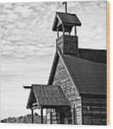 Church On The Mount In Black And White Wood Print by Lee Craig