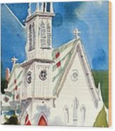 Church With Jet Contrail Wood Print by Kip DeVore
