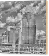 Cincinnati Ballpark Clouds Bw Wood Print by Mel Steinhauer