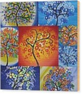 Circle Trees Wood Print by Cathy Jacobs
