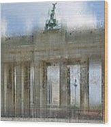 City-art Berlin Brandenburg Gate Wood Print by Melanie Viola