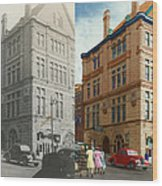 City - Chattanooga Tn - 1943 - The Masonic Temple - Both Wood Print by Mike Savad
