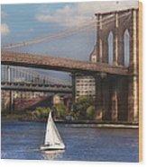 City - Ny - Sailing Under The Brooklyn Bridge Wood Print by Mike Savad
