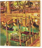 City - Vegas - Venetian - The Venetian At Night Wood Print by Mike Savad