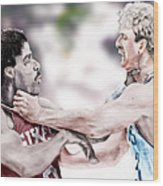 Clash Of The Titans 1984 - Bird And Doctor  J Wood Print by Reggie Duffie