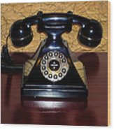 Classic Rotary Dial Telephone Wood Print by Mariola Bitner