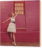 Classy Diva Standing In Front Of Pink Brick Wall  Wood Print by Kriss Russell