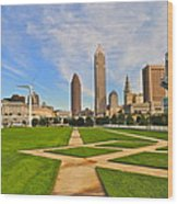 Cleveland Skyline Wood Print by Frozen in Time Fine Art Photography