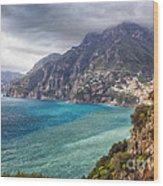 Cliffs Of Amalfi Coastline  Wood Print by George Oze