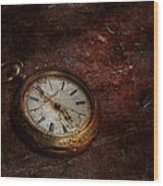 Clock - Time Waits Wood Print by Mike Savad
