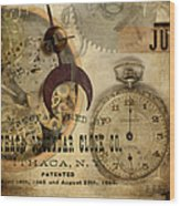 Clockworks Wood Print by Fran Riley