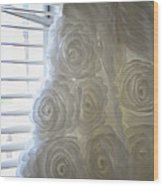 Close-up Of Flower Wedding Dress Wood Print by Mike Hope
