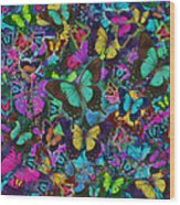 Cloured Butterfly Explosion Wood Print by Alixandra Mullins