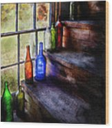 Collector - Bottle - A Collection Of Bottles Wood Print by Mike Savad