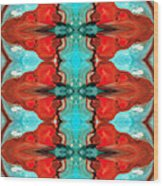 Color Chant - Red And Aqua Pattern Art By Sharon Cummings Wood Print by Sharon Cummings