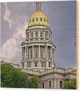 Colorado State Capitol Building Denver Co Wood Print by Christine Till