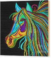 Colorful Horse Head 2 Wood Print by Nick Gustafson