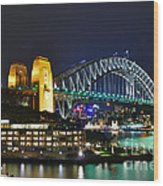 Colorful Sydney Harbour Bridge By Night Wood Print by Kaye Menner