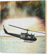 Combat Helicopter Wood Print by Olivier Le Queinec