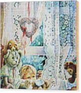 Come Out And Play Teddy Wood Print by Hanne Lore Koehler