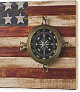 Compass On Wooden Folk Art Flag Wood Print by Garry Gay