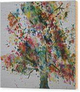 Confetti Tree Wood Print by Patsy Sharpe