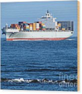 Container Ship Wood Print by Olivier Le Queinec