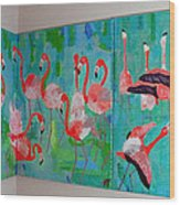 Corner Flamingos Wood Print by Vicky Tarcau