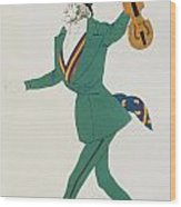 Costume Design For Paganini In The Enchanted Night Wood Print by Leon Bakst