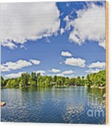Cottage Lake With Diving Platform And Dock Wood Print by Elena Elisseeva