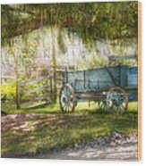 Country - The Old Wagon Out Back  Wood Print by Mike Savad