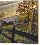 Country Times Wood Print by Debra and Dave Vanderlaan