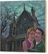 Couple Outside Haunted House Wood Print by Martin Davey